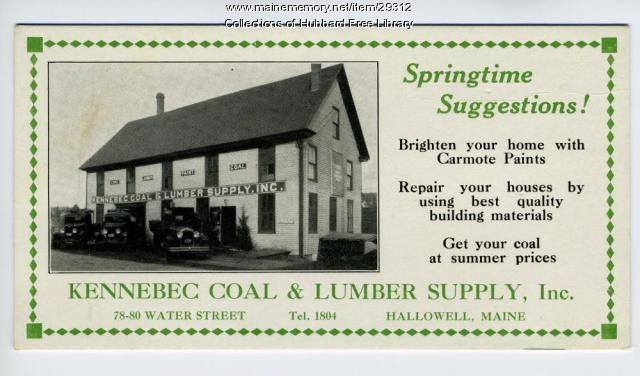 Kennebec Coal & Lumber Supply, Inc., Hallowell, ca. 1932