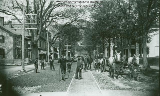 Trolley track work, Kennebunk, 1899
