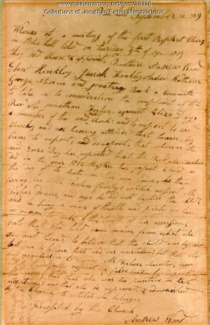 Letter from Andrew Wood to Rev. Jonathan Fisher, Blue Hill 1819