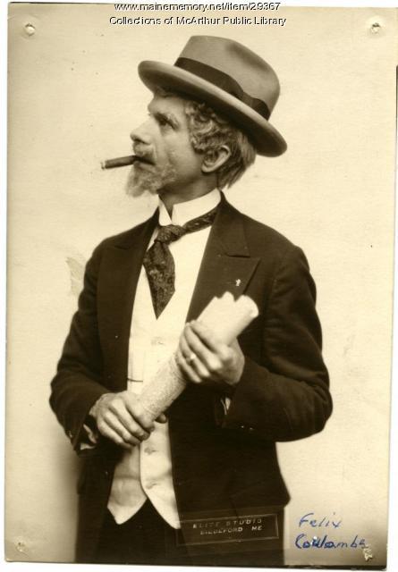 Felix Coulombe in costume, Biddeford, ca. 1925