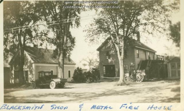 Fred Adams Blacksmith shop and metal firehouse, Cumberland, ca. 1920