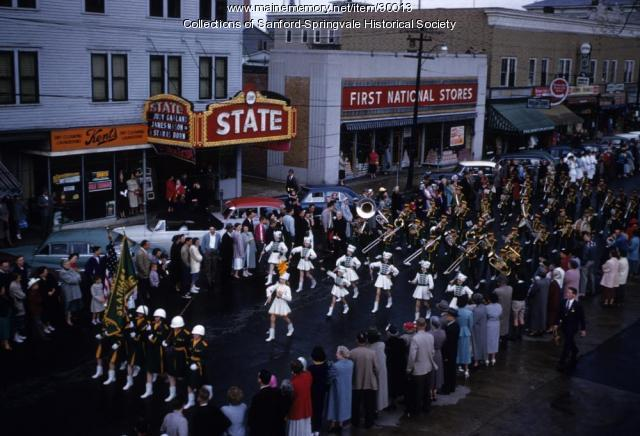 St Athanasius's (Rumford) High School Marching Band in Sanford, ca. 1955