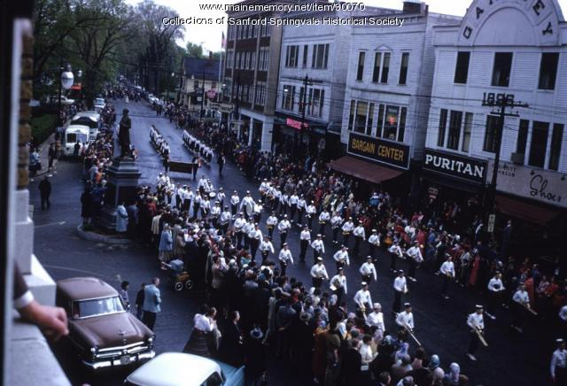 North Yarmouth Academy Band enters Sanford Square, 1955