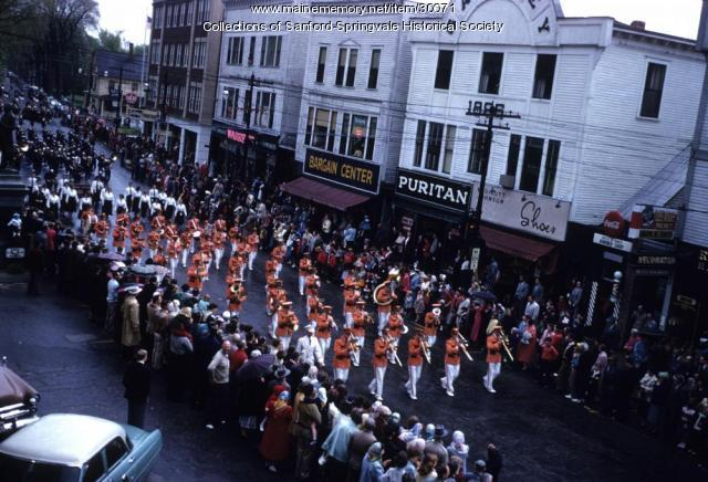 Bands marching through Sanford Square, 1955