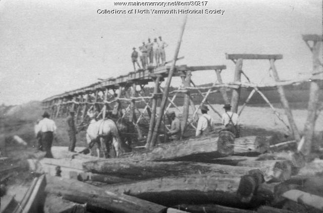 Building the Maine Central Railroad overpass, North Yarmouth, 1911
