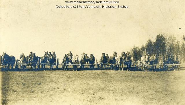 Horse and wagon teams, North Yarmouth, 1911
