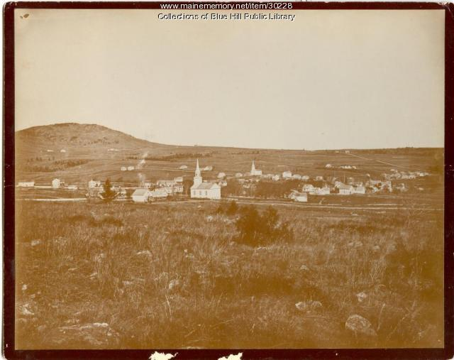 View of Blue Hill Village and Mountain, ca. 1880