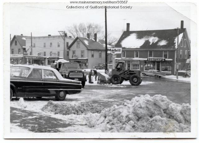 Bank Square and Elm Street Businesses, Guilford, 1955