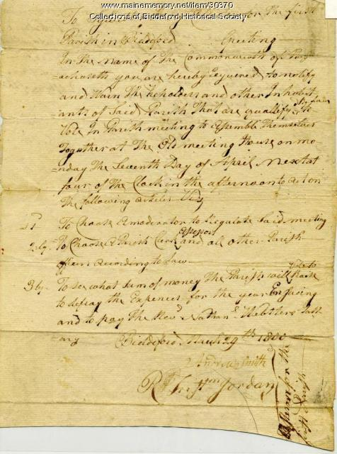 First Parish assembly notice, Biddeford, 1800