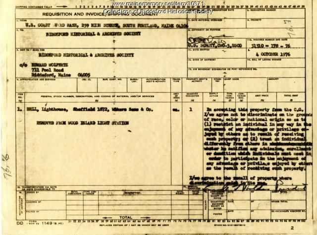 Shipping document for lighthouse bell, Biddeford, 1976