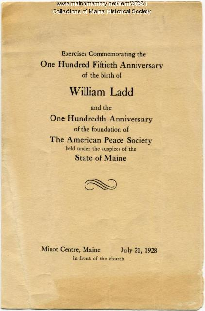 Cover, William Ladd, American Peace Society Anniversary, Minot, 1928