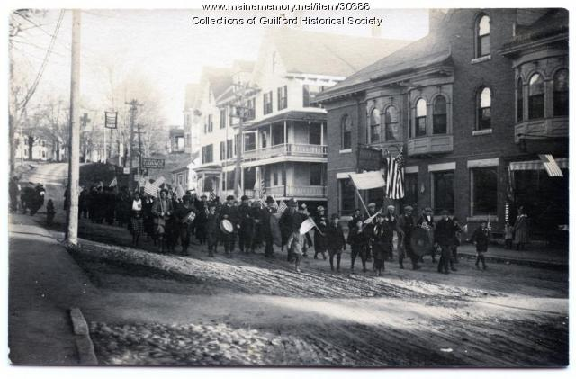 Temperance Parade on North Main Street, Guilford, ca. 1900