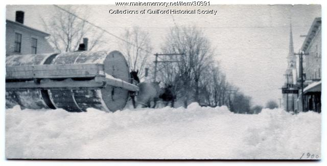 Horse Drawn Snow Roller, Guilford, ca. 1900