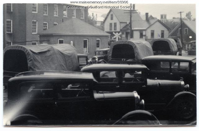 Arrival of National Guard troops, Guilford, 1934