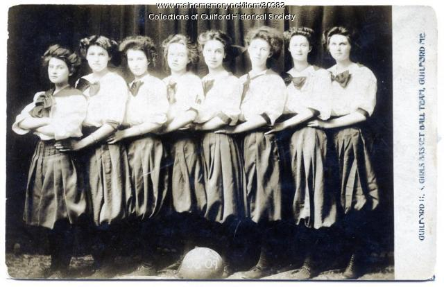 Guilford High School girls basketball team, Guilford, 1908