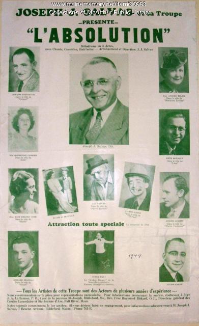 L'absolution play poster, Biddeford, 1944