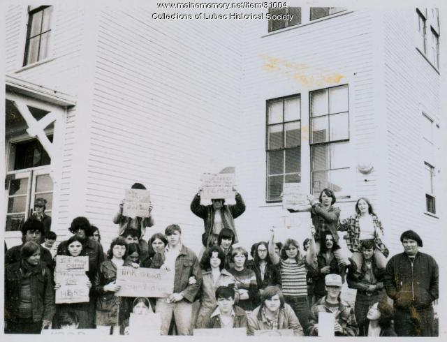 High School protest, Lubec, ca. 1975