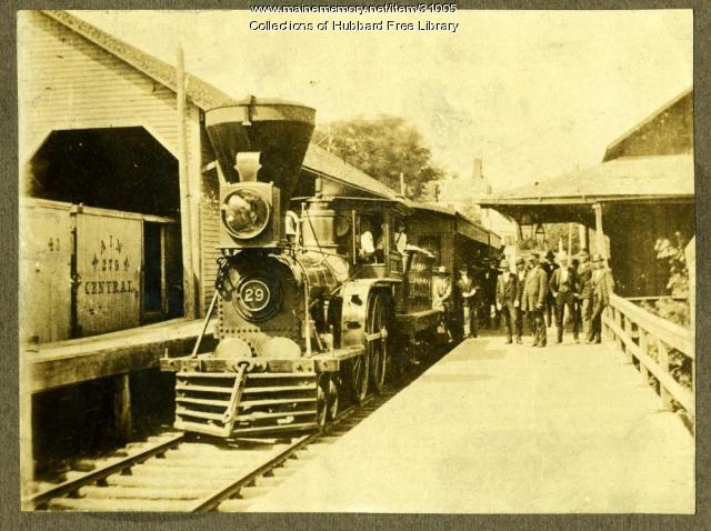 Maine Central #29 Train at Hallowell Depot, ca. 1872