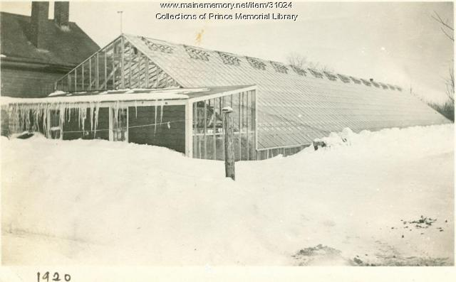 Arno S. Chase greenhouse after blizzard, Cumberland, 1920