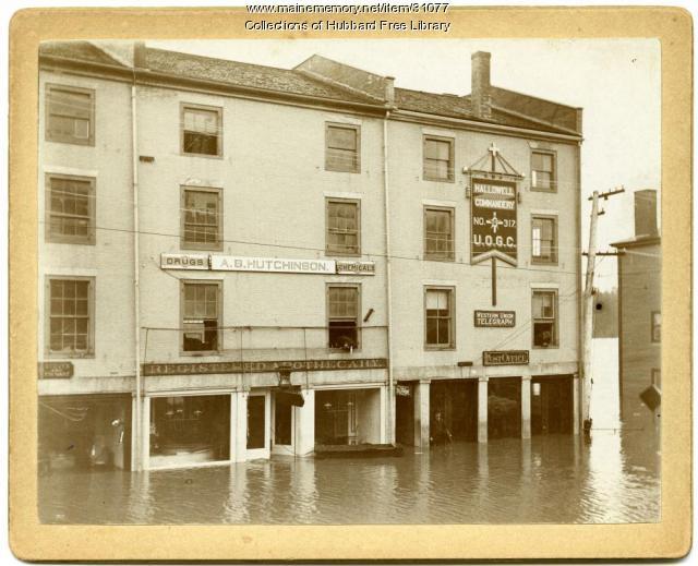 Flood, Merchants Row, Hallowell, 1896