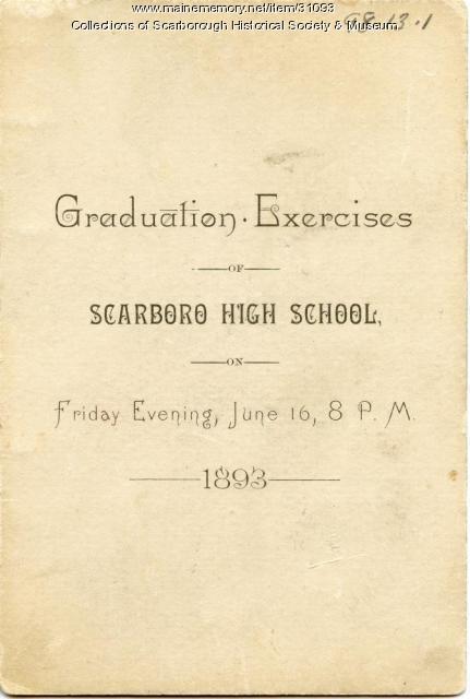 Scarborough High School Graduation Program, June 16, 1893