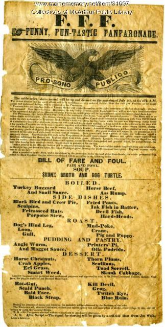 Odd Fellows Poster/Broadside, Biddeford, circa 1855