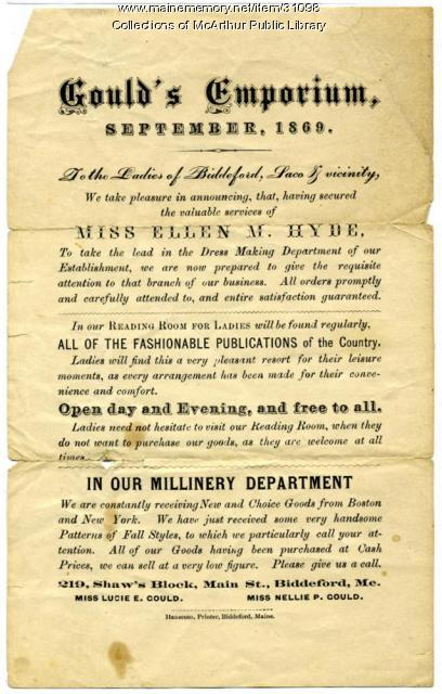 Advertisement for Gould's Emporium, Biddeford, 1869