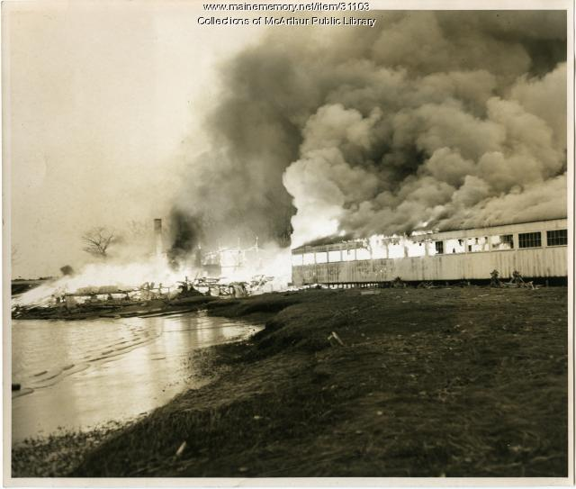 Fire at Marblehead Boatyard, Biddeford, 1965