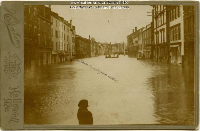Kennebec River Flood, Business district, Hallowell, 1870