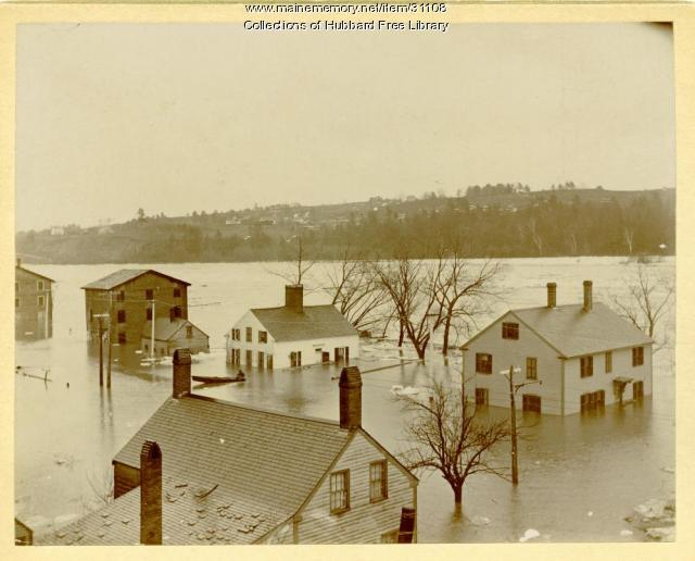 Kennebec River Flood, North end of Joppa, Hallowell, 1896