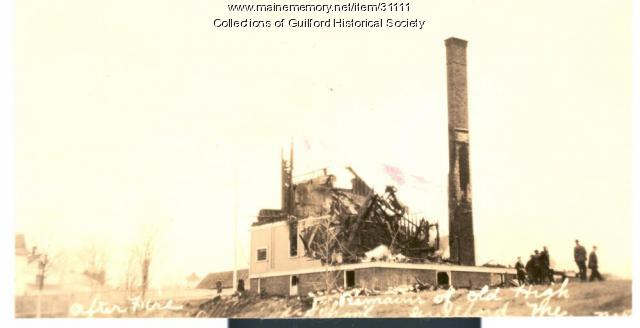 Guilford High School ruins, Guilford, 1925