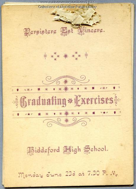 Biddeford High School graduation program, 1890