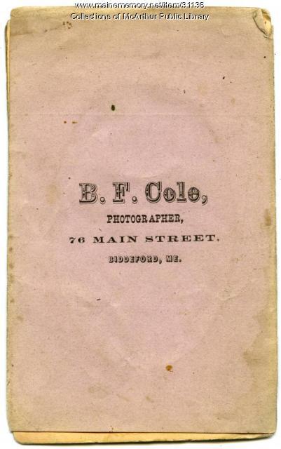 Tintype wrapper used by B. F. Cole, Biddeford, ca. 1865