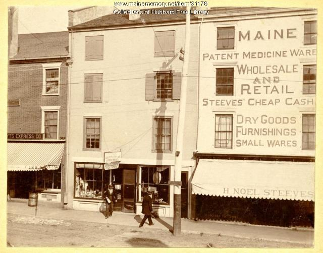Steeves' Maine Patent Medicine Warehouse, Water Street, Hallowell, ca. 1900