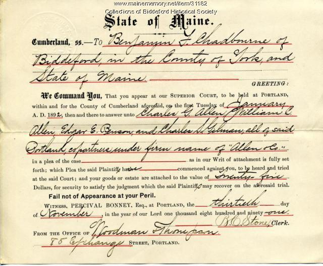 Court summons for Benjamin Chadbourne, 1891