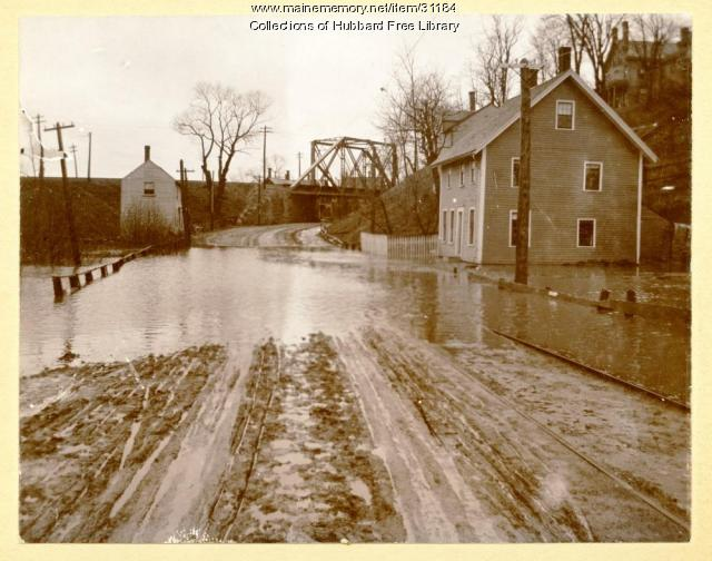 Railraod Overhead Bridge, Water Street, Hallowell, ca. 1896