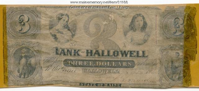 Bank of Hallowell three dollar bill, Hallowell, ca. 1852
