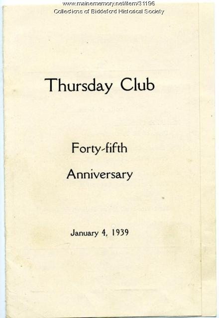 Thursday Club anniversary program, Biddeford, 1939