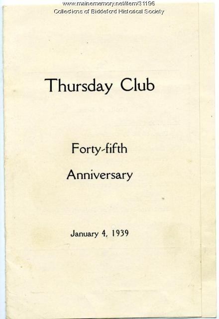 Thursday Club anniversary program, Biddeford, 1939