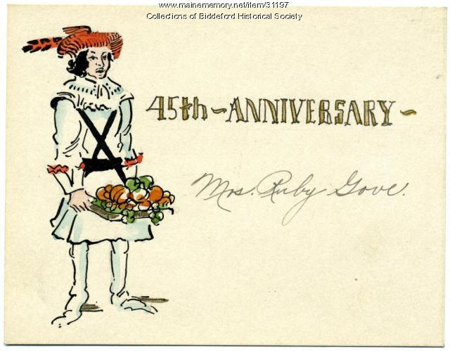 Thursday Club anniversary place card, Biddeford, January 4, 1939