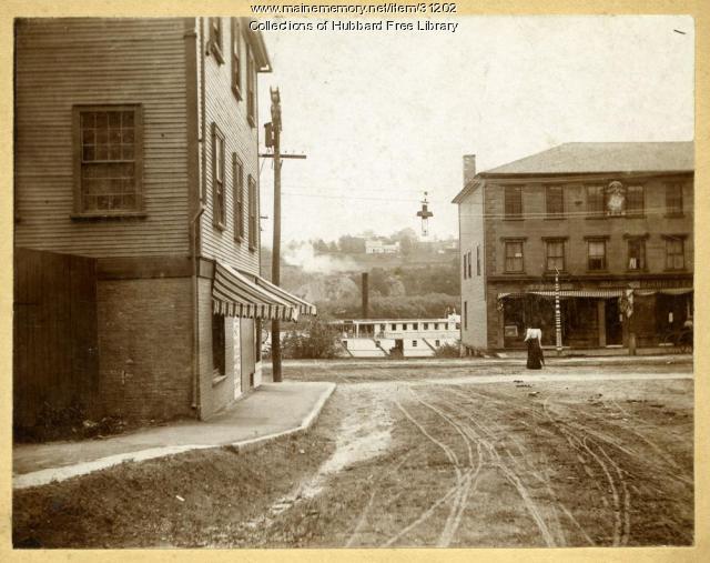 Steamer Della Collins, Front Street, Hallowell, ca. 1895