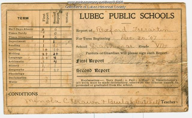 School report card, Lubec, 1907