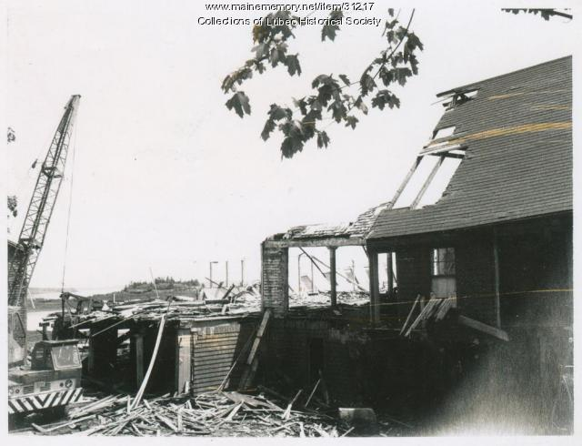 Demolishing fish factory, Lubec, ca. 1973