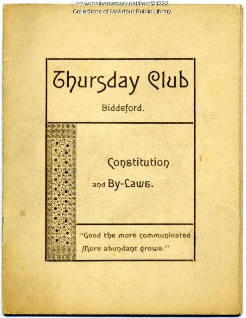 Thursday Club constitution and by-laws, Biddeford, ca. 1900
