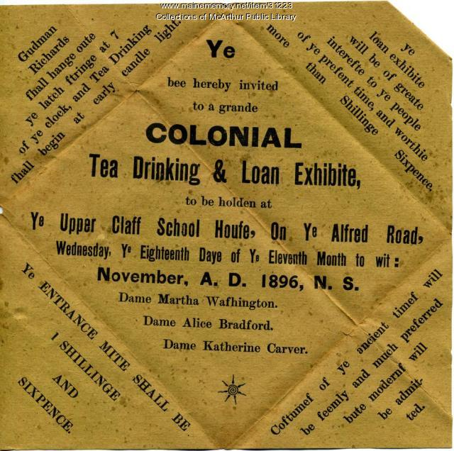 Invitation to Thursday Club's Colonial Tea Party, Biddeford, 1896
