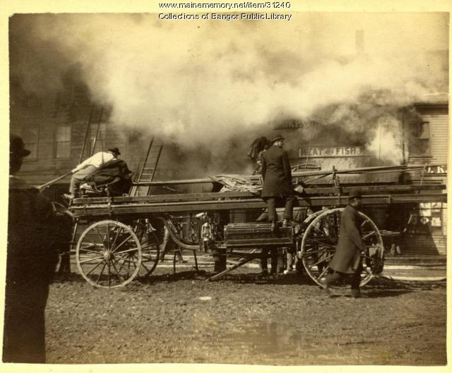 Hook and ladder at Pickering Square fire, Bangor, 1891