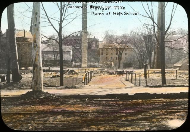 Ruins of Bangor High School after the fire, 1911