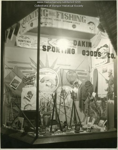 Dakin Sporting Goods Hunting And Fishing Window Display, Bangor, ca. 1937