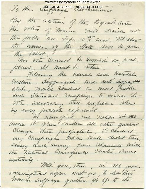 Letter to suffrage organizations, Portland, 1917