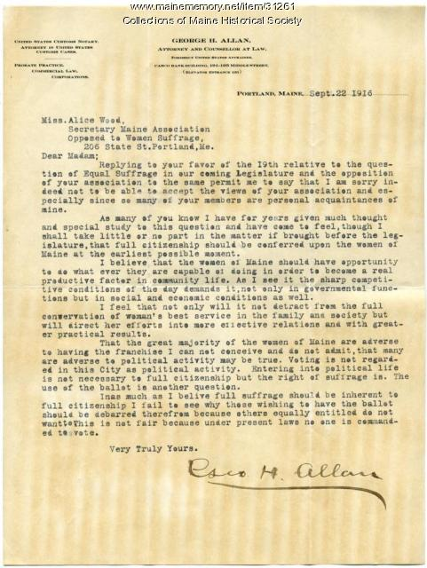 George Allan letter in support of suffrage, Portland, 1916